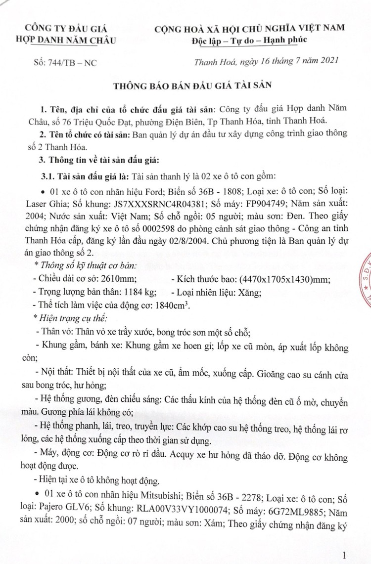 Ngày 31/7/2021, đấu giá 02 xe ô tô tại tỉnh Thanh Hóa ảnh 3