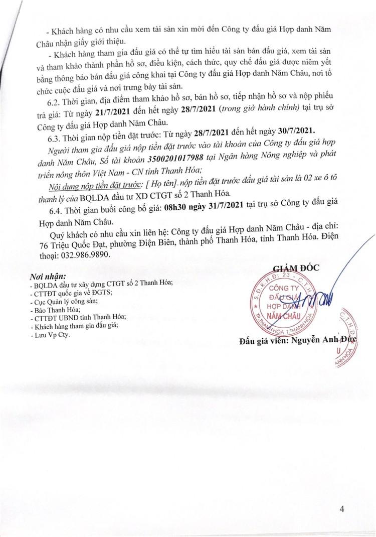 Ngày 31/7/2021, đấu giá 02 xe ô tô tại tỉnh Thanh Hóa ảnh 6