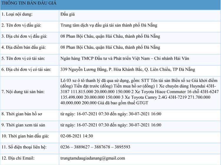 Ngày 2/8/2021, đấu giá lô 3 xe ô tô thanh lý tại thành phố Đà Nẵng ảnh 1