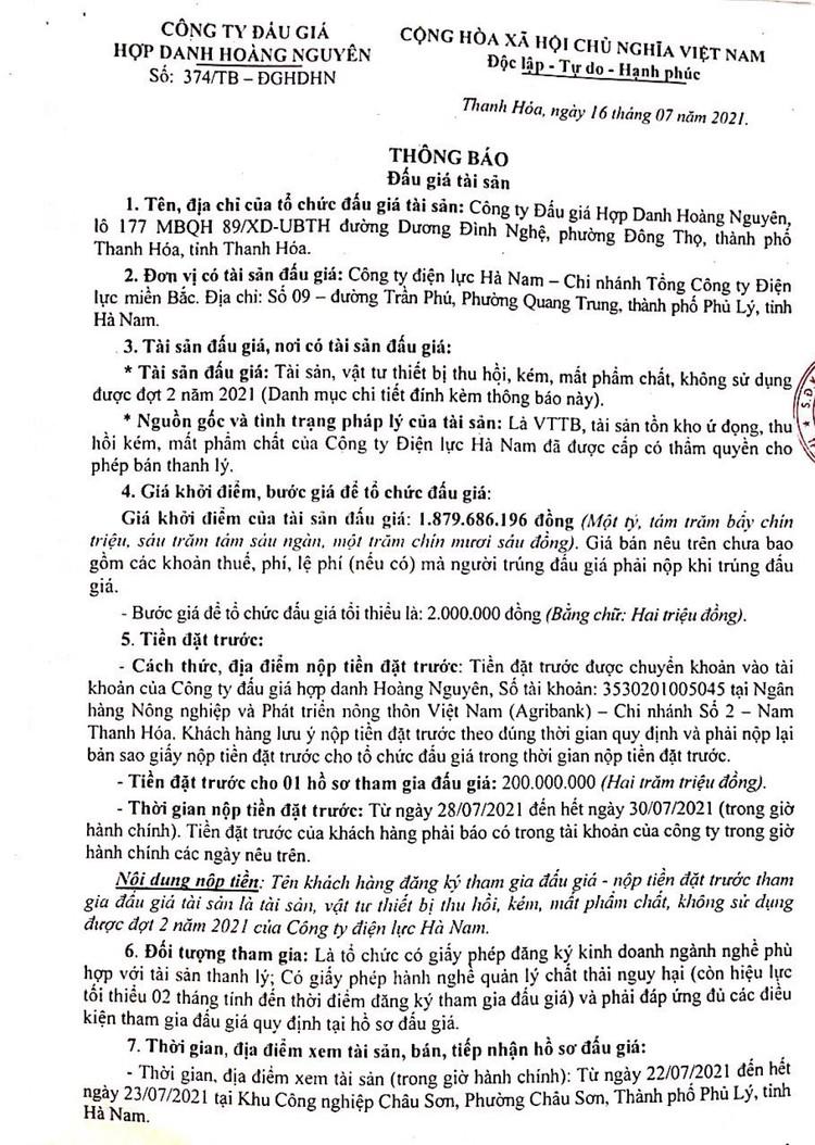 Ngày 31/7/2021, đấu giá tài sản, vật tư thiết bị thu hồi, kém, mất phẩm chất tại tỉnh Thanh Hóa ảnh 2