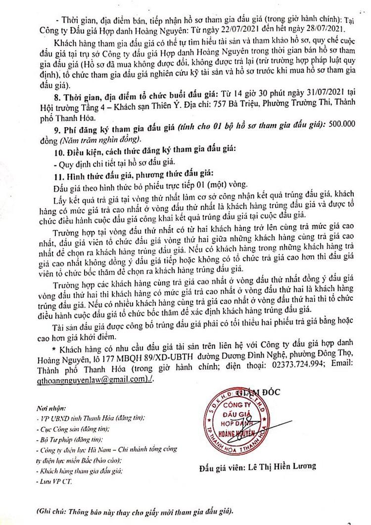 Ngày 31/7/2021, đấu giá tài sản, vật tư thiết bị thu hồi, kém, mất phẩm chất tại tỉnh Thanh Hóa ảnh 3