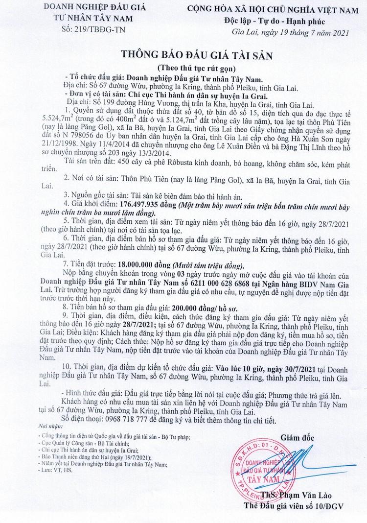 Ngày 30/7/2021, đấu giá quyền sử dụng đất tại huyện Ia Grai, tỉnh Gia Lai ảnh 2