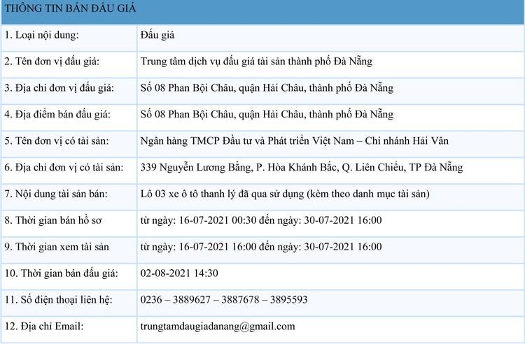Ngày 2/8/2021, đấu giá 03 xe ô tô thanh lý tại thành phố Đà Nẵng ảnh 1