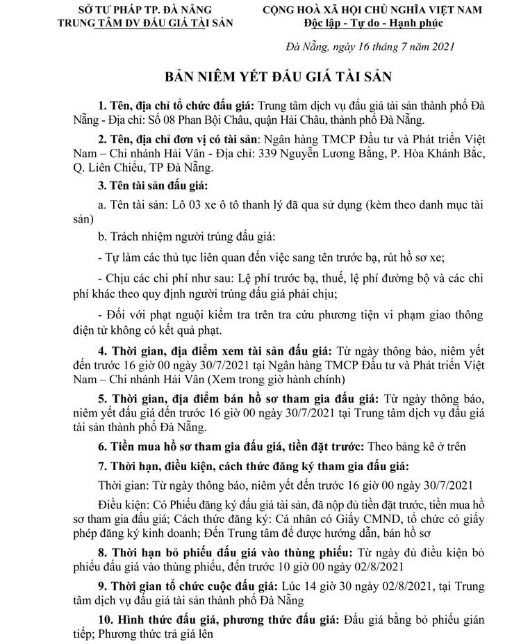 Ngày 2/8/2021, đấu giá 03 xe ô tô thanh lý tại thành phố Đà Nẵng ảnh 2