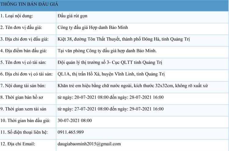 Ngày 30/7/2021, đấu giá tang vật tịch thu tại tỉnh Quảng Trị ảnh 1