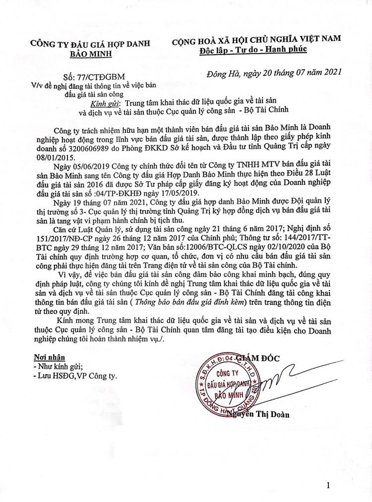 Ngày 30/7/2021, đấu giá tang vật tịch thu tại tỉnh Quảng Trị ảnh 2