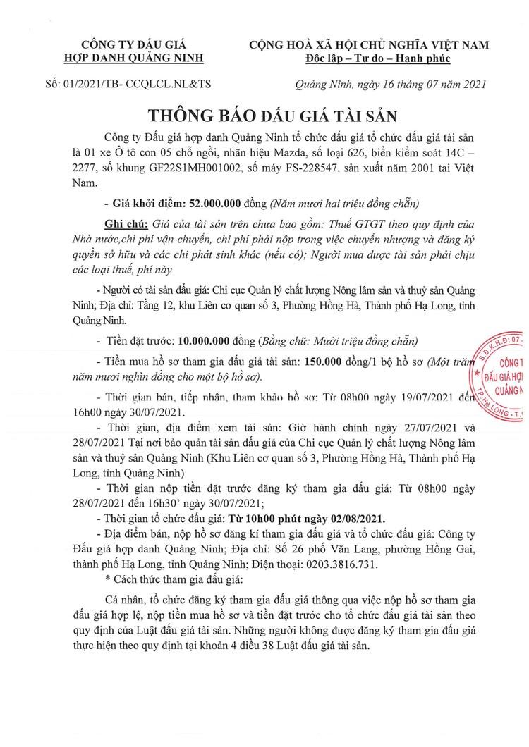 Ngày 2/8/2021, đấu giá xe ô tô Mazda tại tỉnh Quảng Ninh ảnh 2