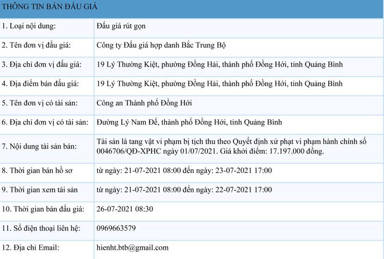 Ngày 26/7/2021, đấu giá tang vật bị tịch thu tại tỉnh Quảng Bình ảnh 1