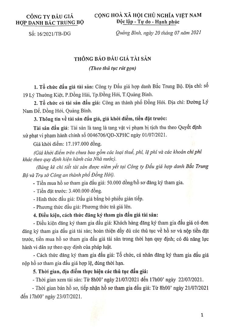 Ngày 26/7/2021, đấu giá tang vật bị tịch thu tại tỉnh Quảng Bình ảnh 2