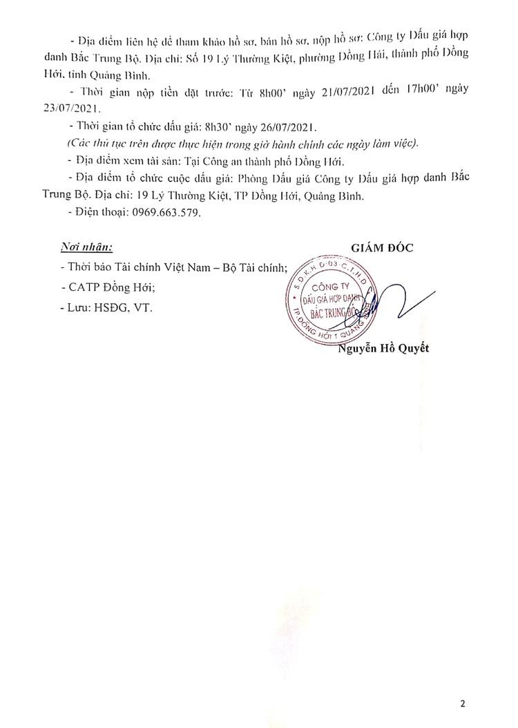 Ngày 26/7/2021, đấu giá tang vật bị tịch thu tại tỉnh Quảng Bình ảnh 3