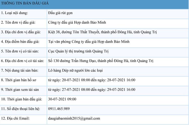 Ngày 30/7/2021, đấu giá tang vật vi phạm hành chính tại tỉnh Quảng Trị ảnh 1