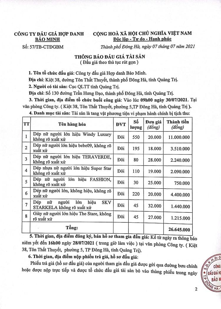 Ngày 30/7/2021, đấu giá tang vật vi phạm hành chính tại tỉnh Quảng Trị ảnh 3