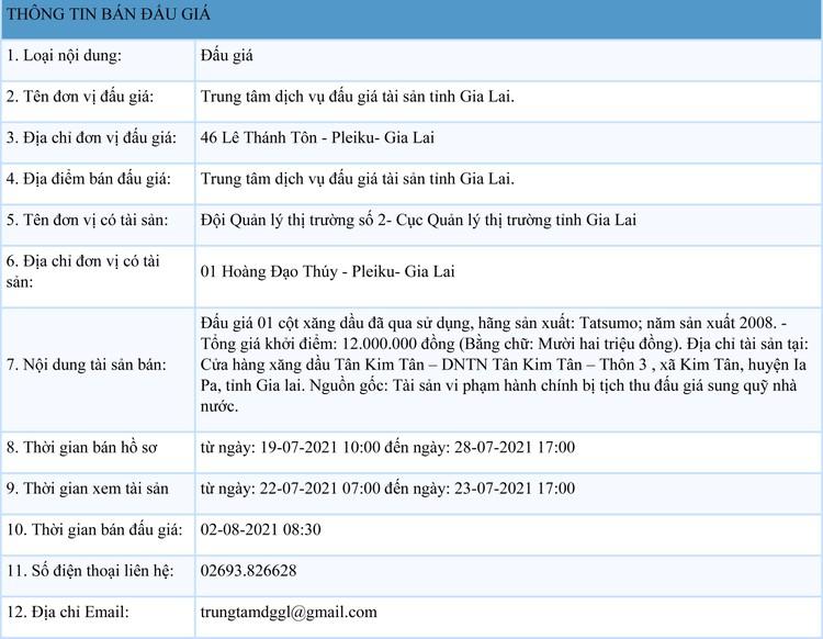 Ngày 2/8/2021, đấu giá cột xăng đã qua sử dụng tại tỉnh Gia Lai ảnh 1