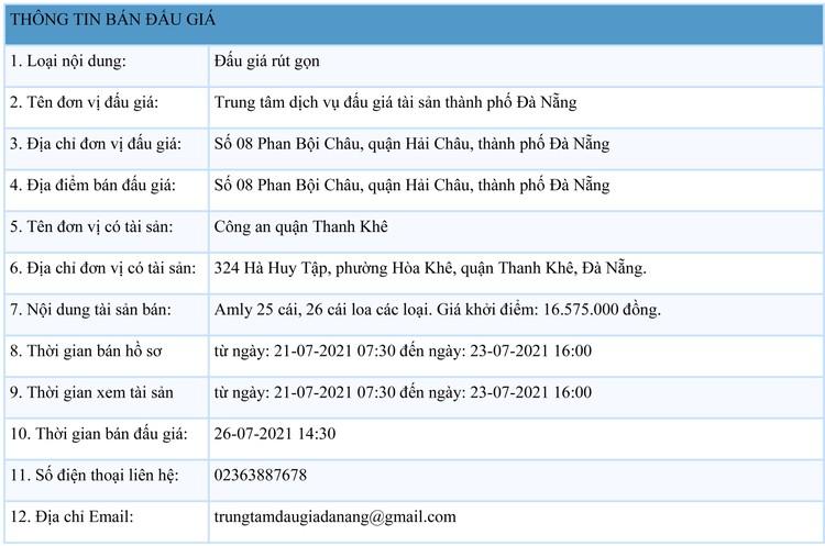 Ngày 26/7/2021, đấu giá Amly 25 cái, 26 cái loa các loại tại thành phố Đà Nẵng ảnh 1