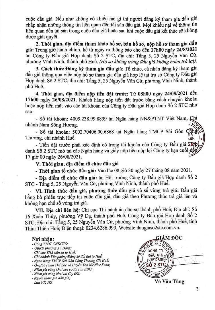 Ngày 27/8/2021, đấu giá quyền sử dụng đất tại thành phố Huế, tỉnh Thừa Thiên Huế ảnh 4
