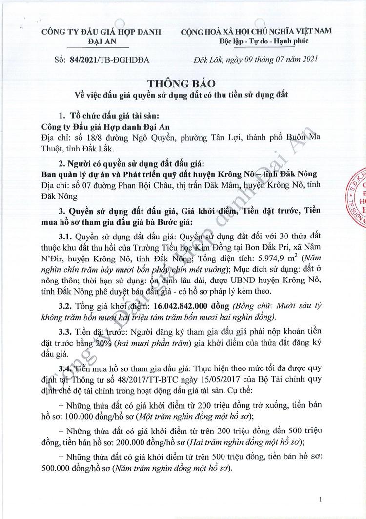 Ngày 6/8/2021, đấu giá quyền sử dụng 30 thửa đất tại huyện Krông Nô, tỉnh Đắk Nông ảnh 2