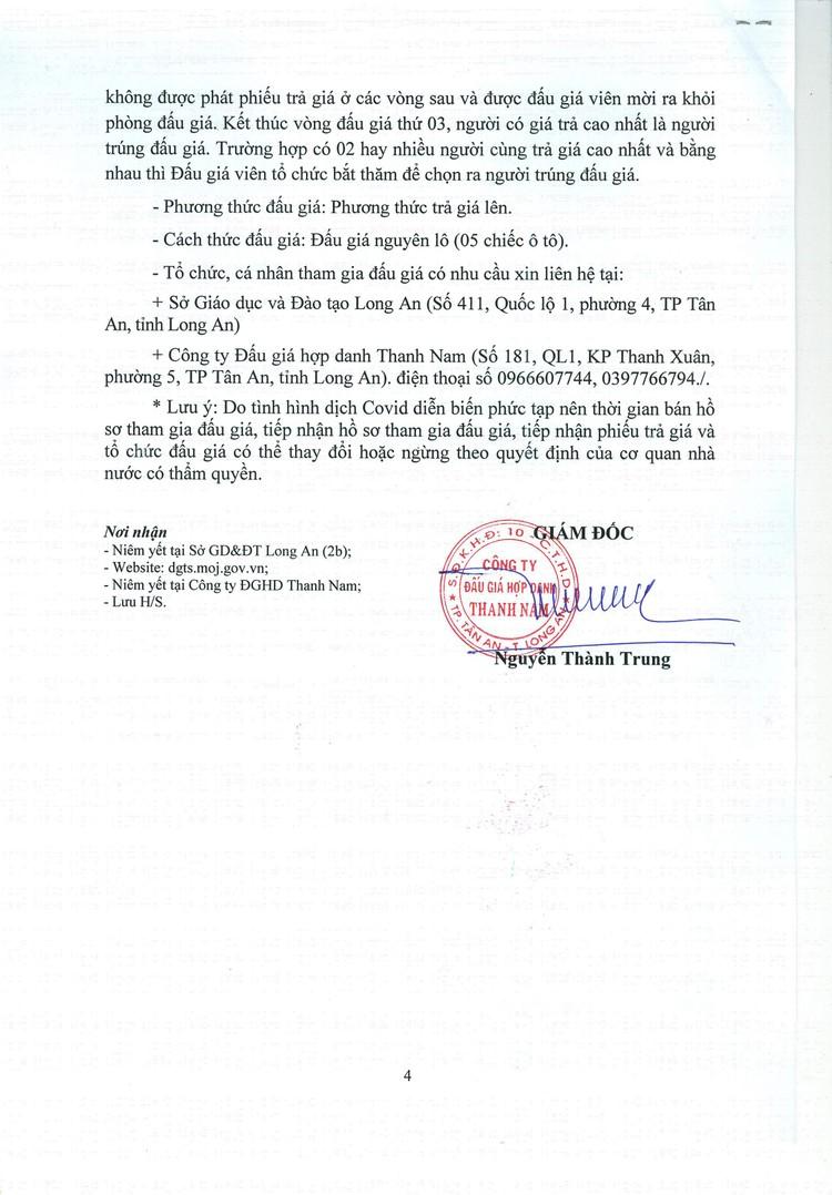 Ngày 3/8/2021, đấu giá 5 ô tô đã qua sử dụng tại tỉnh Long An ảnh 5