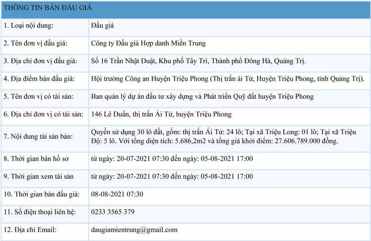 Ngày 8/8/2021, đấu giá quyền sử dụng 30 lô đất tại huyện Triệu Phong, tỉnh Quảng Trị ảnh 1