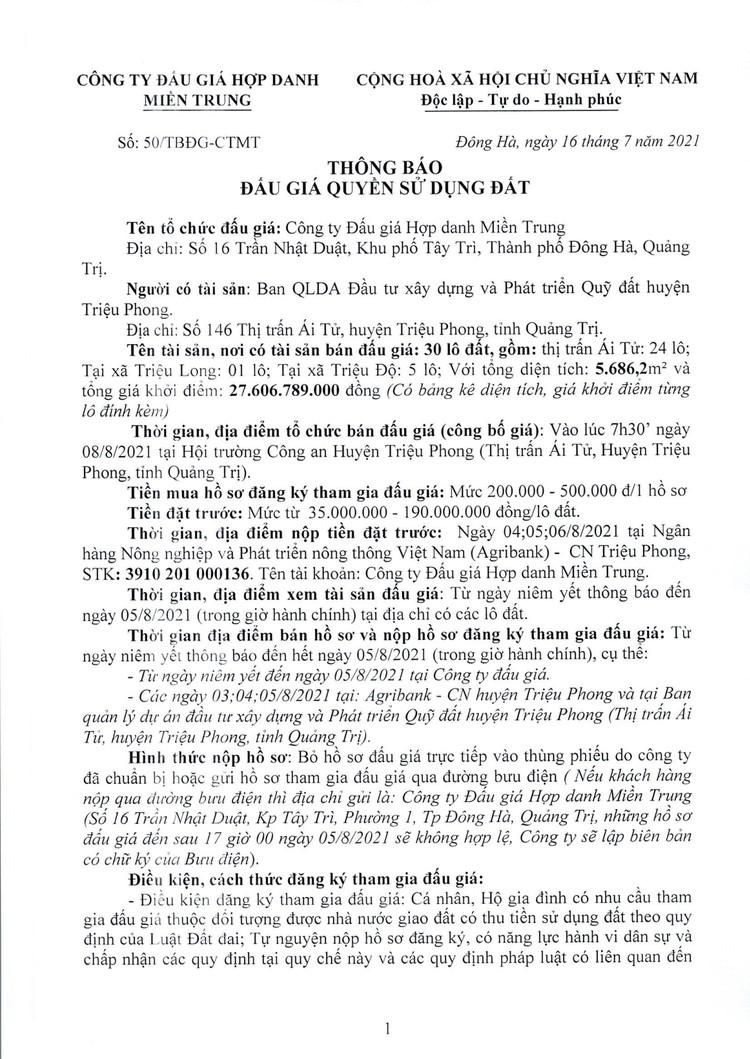 Ngày 8/8/2021, đấu giá quyền sử dụng 30 lô đất tại huyện Triệu Phong, tỉnh Quảng Trị ảnh 3