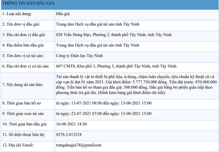 Ngày 16/8/2021, đấu giá vật tư thiết bị phế liệu, ứ đọng tại tỉnh Tây Ninh ảnh 1