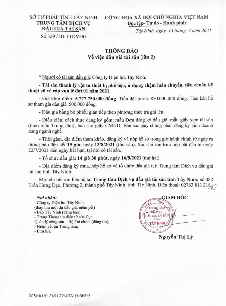 Ngày 16/8/2021, đấu giá vật tư thiết bị phế liệu, ứ đọng tại tỉnh Tây Ninh ảnh 2