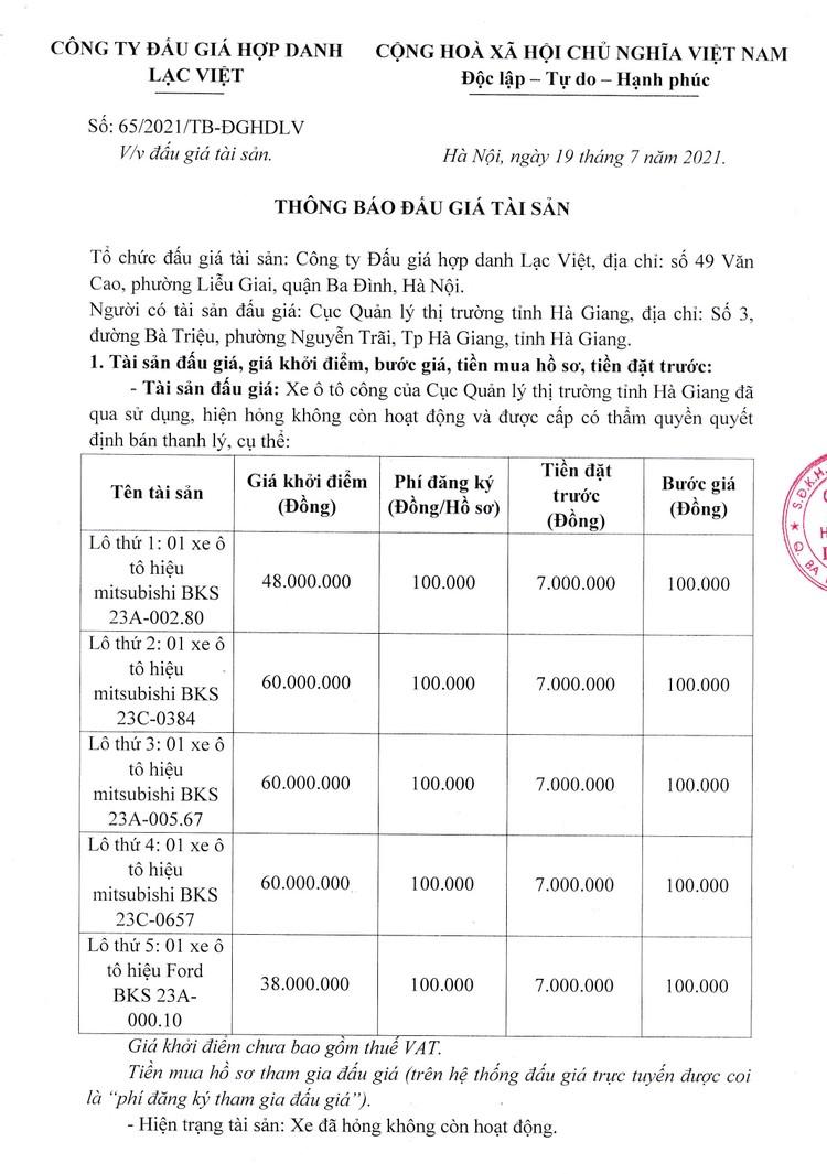 Ngày 5/8/2021, đấu giá 5 xe ô tô tại tỉnh Hà Giang ảnh 2
