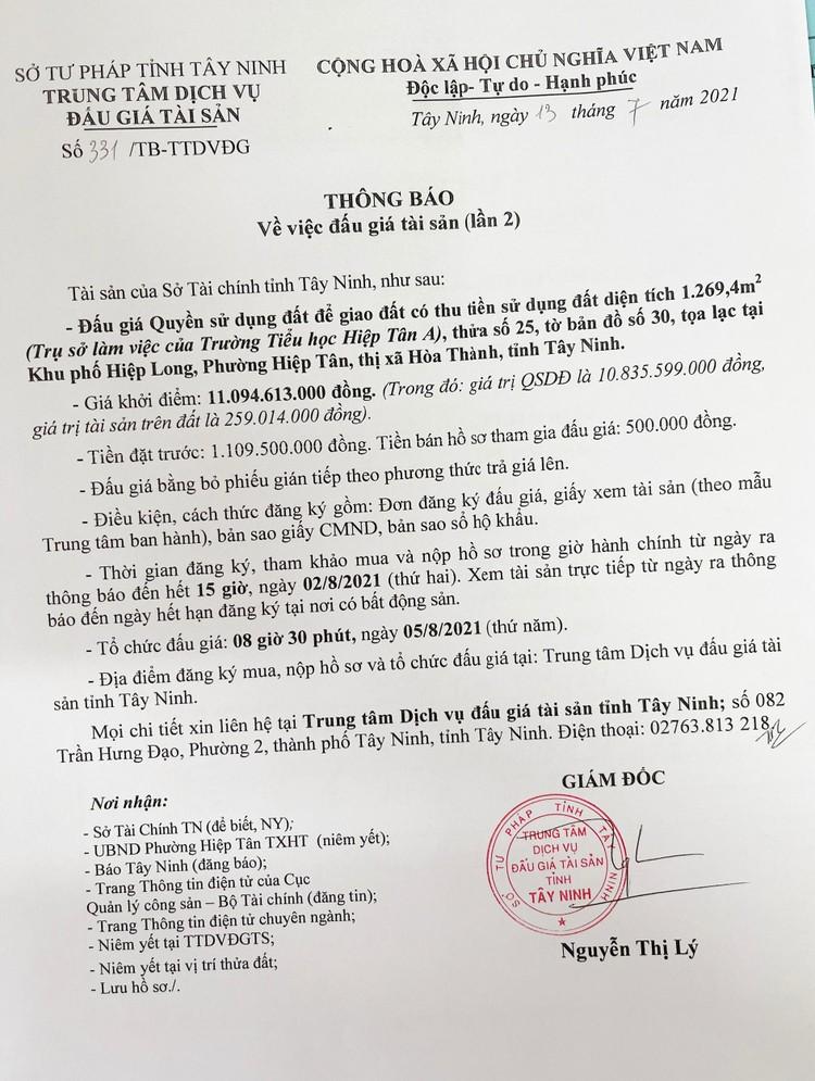 Ngày 5/8/2021, đấu giá quyền sử dụng 3 lô đất tại thành phố Tây Ninh, tỉnh Tây Ninh ảnh 5