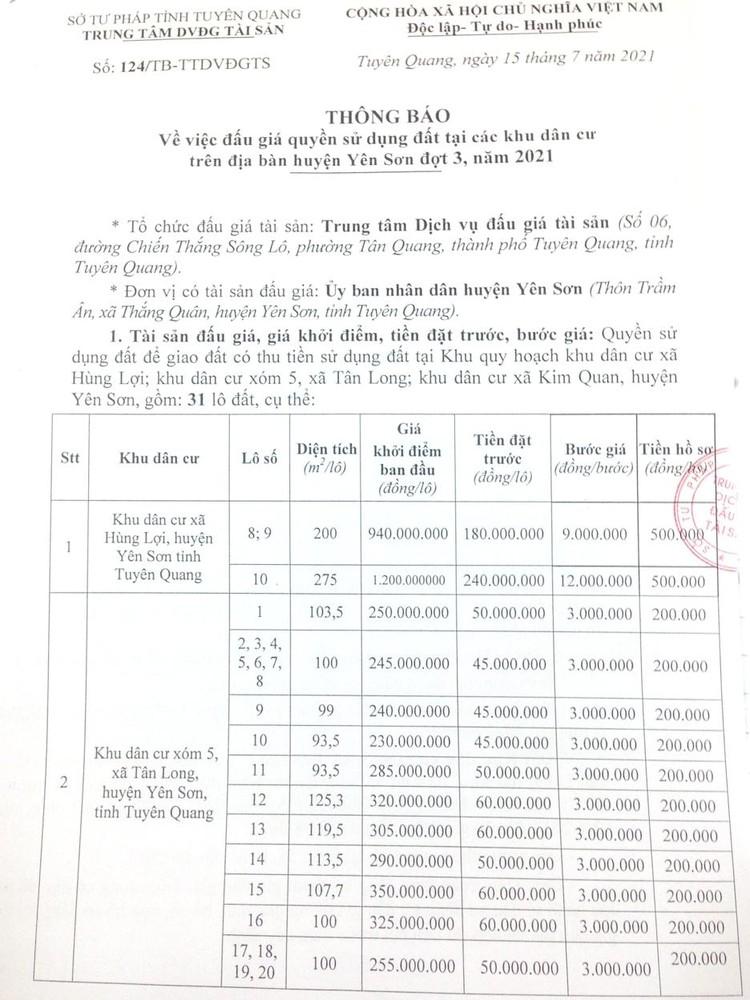 Ngày 7/8/2021, đấu giá quyền sử dụng 31 lô đất tại huyện Yên Sơn, tỉnh Tuyên Quang ảnh 2