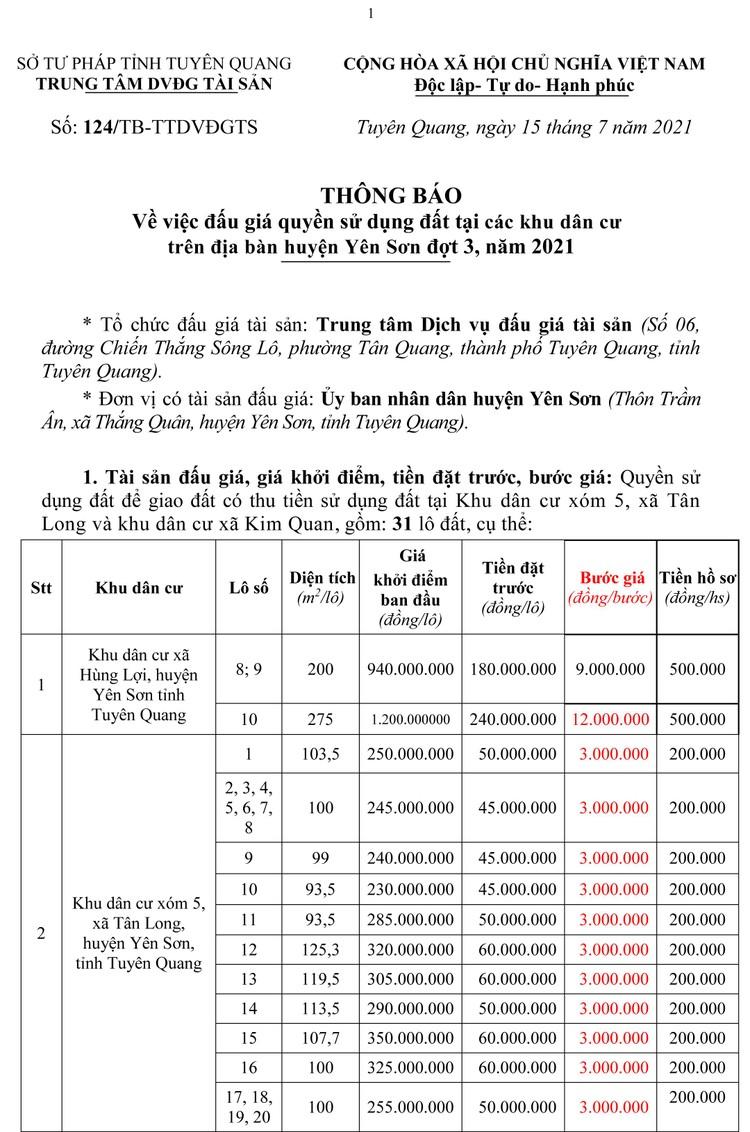 Ngày 7/8/2021, đấu giá quyền sử dụng 31 lô đất tại huyện Yên Sơn, tỉnh Tuyên Quang ảnh 5