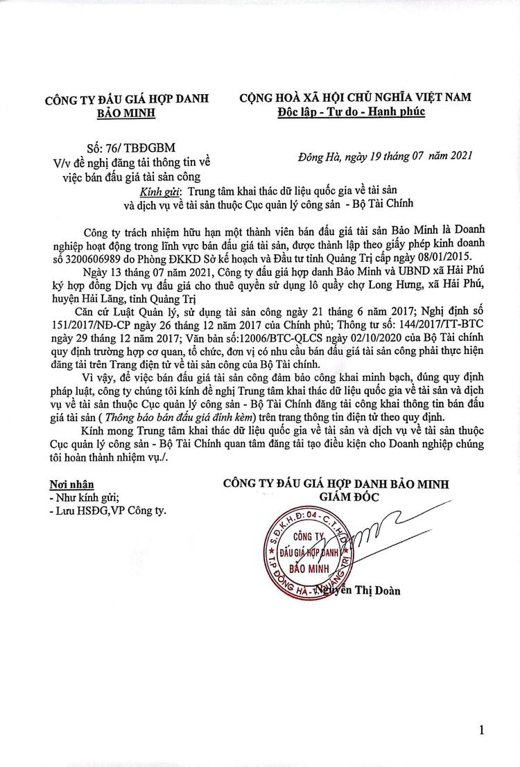 Ngày 12/8/2021, đấu giá cho thuê quyền sử dụng 32 lô quầy tại chợ Long Hưng, tỉnh Quảng Trị ảnh 2
