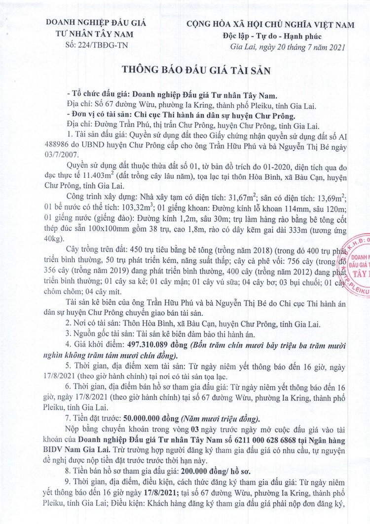 Ngày 20/8/2021, đấu giá quyền sử dụng đất tại huyện Chư Prông, tỉnh Gia Lai ảnh 2