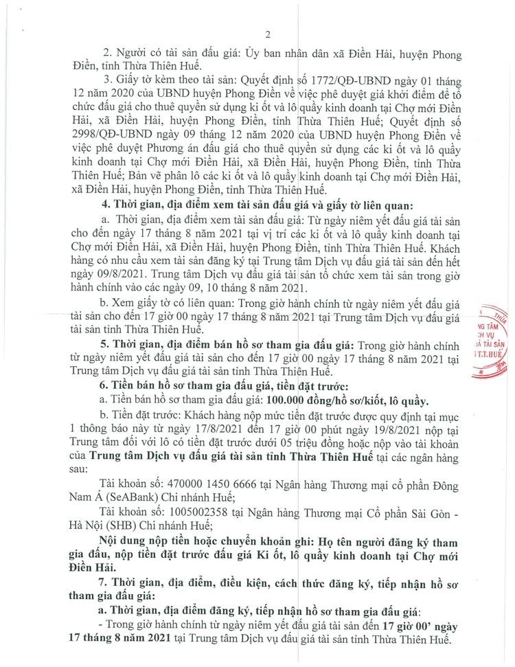 Ngày 20/8/2021, đấu giá cho thuê quyền sử dụng các ki ốt tại chợ mới Điền Hải, tỉnh Thừa Thiên Huế ảnh 3