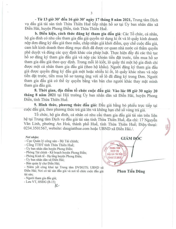 Ngày 20/8/2021, đấu giá cho thuê quyền sử dụng các ki ốt tại chợ mới Điền Hải, tỉnh Thừa Thiên Huế ảnh 4