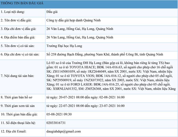 Ngày 5/8/2021, đấu giá lô 03 xe ô tô tại tỉnh Quảng Ninh ảnh 1