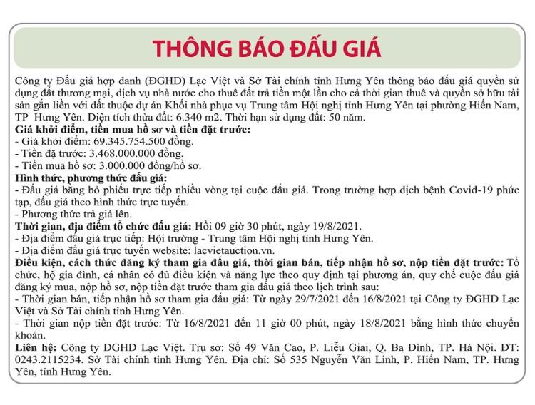 Ngày 19/8/2021, đấu giá quyền sử dụng đất tại thành phố Hưng Yên, tỉnh Hưng Yên ảnh 1