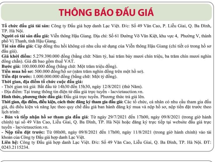 Ngày 12/8/2021, đấu giá cáp đồng thu hồi tại tỉnh Hậu Giang ảnh 1