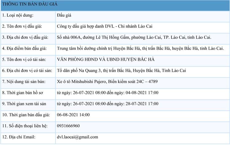 Ngày 6/8/2021, đấu giá xe ô tô Mitshubishi Pajero tại tỉnh Lào Cai ảnh 1