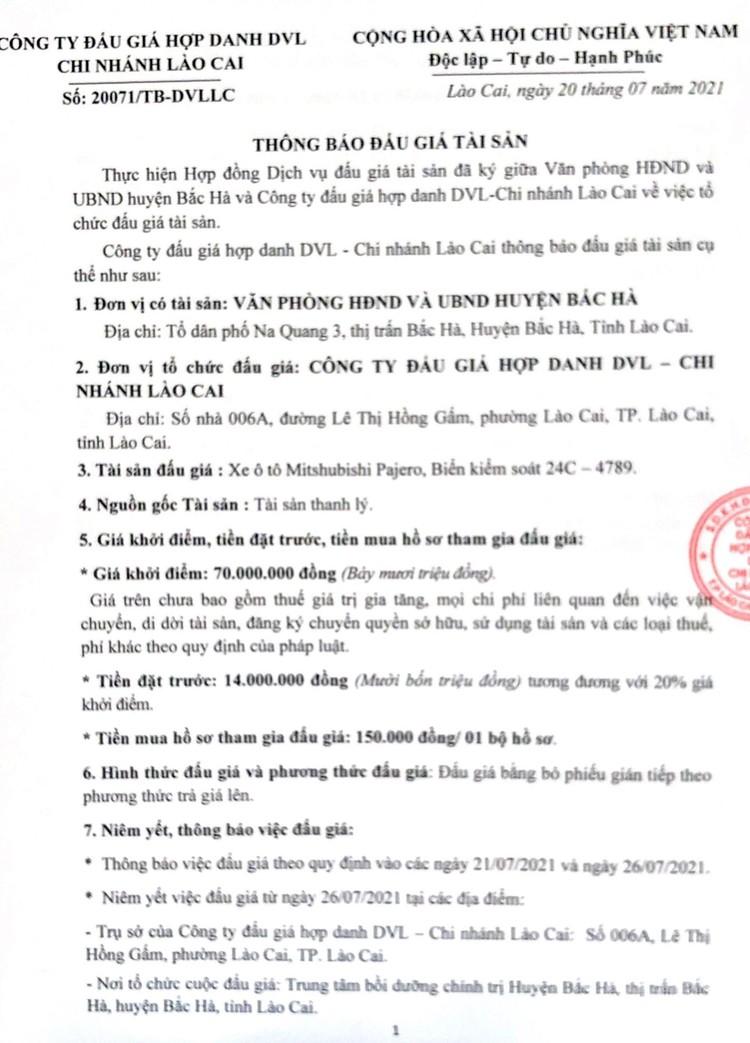 Ngày 6/8/2021, đấu giá xe ô tô Mitshubishi Pajero tại tỉnh Lào Cai ảnh 2