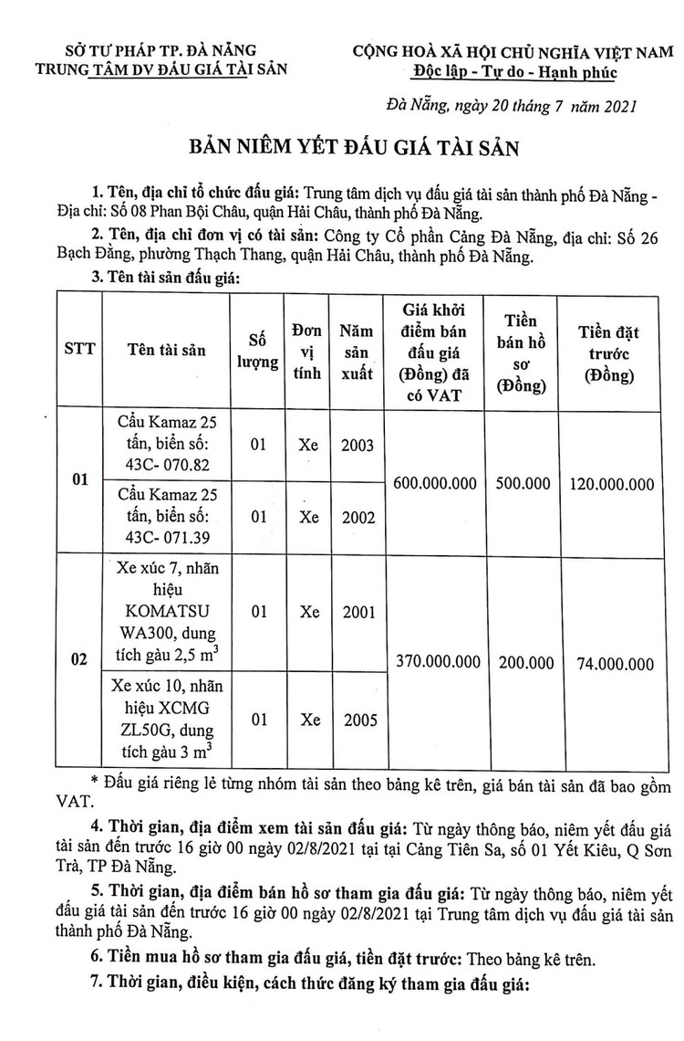 Ngày 5/8/2021, đấu giá 02 Cẩu Kamaz 25 tấn tại thành phố Đà Nẵng ảnh 2