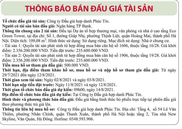 Ngày 14/8/2021, đấu giá quyền tài sản phát sinh từ HĐ mua bán căn hộ đất tại quận Hoàng Mai, Hà Nội ảnh 1