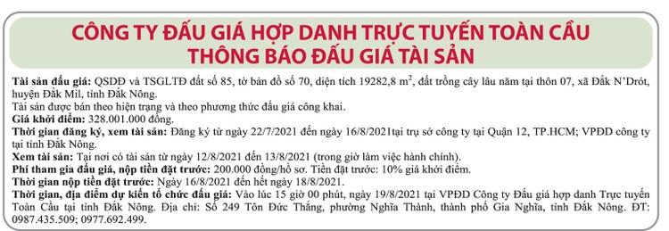 Ngày 19/8/2021, đấu giá quyền sử dụng đất tại huyện Đắk Mil, tỉnh Đắk Nông ảnh 1