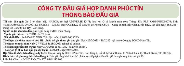 Ngày 3/8/2021, đấu giá xe ô tô Haeco tại Hà Nội ảnh 1