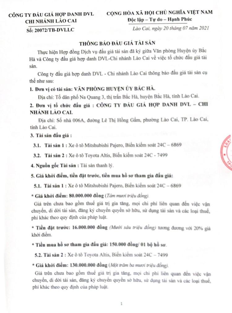 Ngày 6/8/2021, đấu giá 2 xe ô tô tại tỉnh Lào Cai ảnh 2