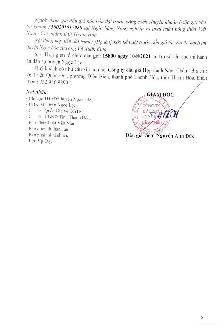 Ngày 10/8/2021, đấu giá hạng mục công trình tài sản trên đất gắn liền với đất tại huyện Ngọc Lặc, tỉnh Thanh Hóa ảnh 7