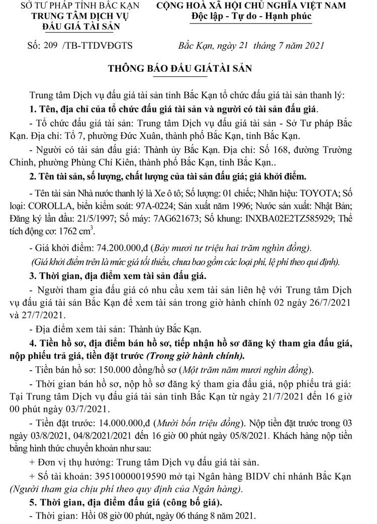 Ngày 6/8/2021, đấu giá xe ô tô TOYOTA tại tỉnh Bắc Kạn ảnh 2