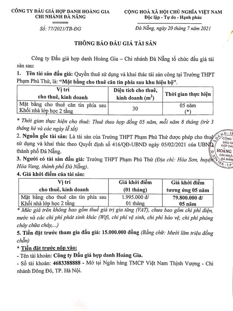 Ngày 13/8/2021, đấu giá quyền thuê sử dụng và khai thác mặt bằng Trường THPT Phạm Phú Thứ, thành phố Đà Nẵng ảnh 2