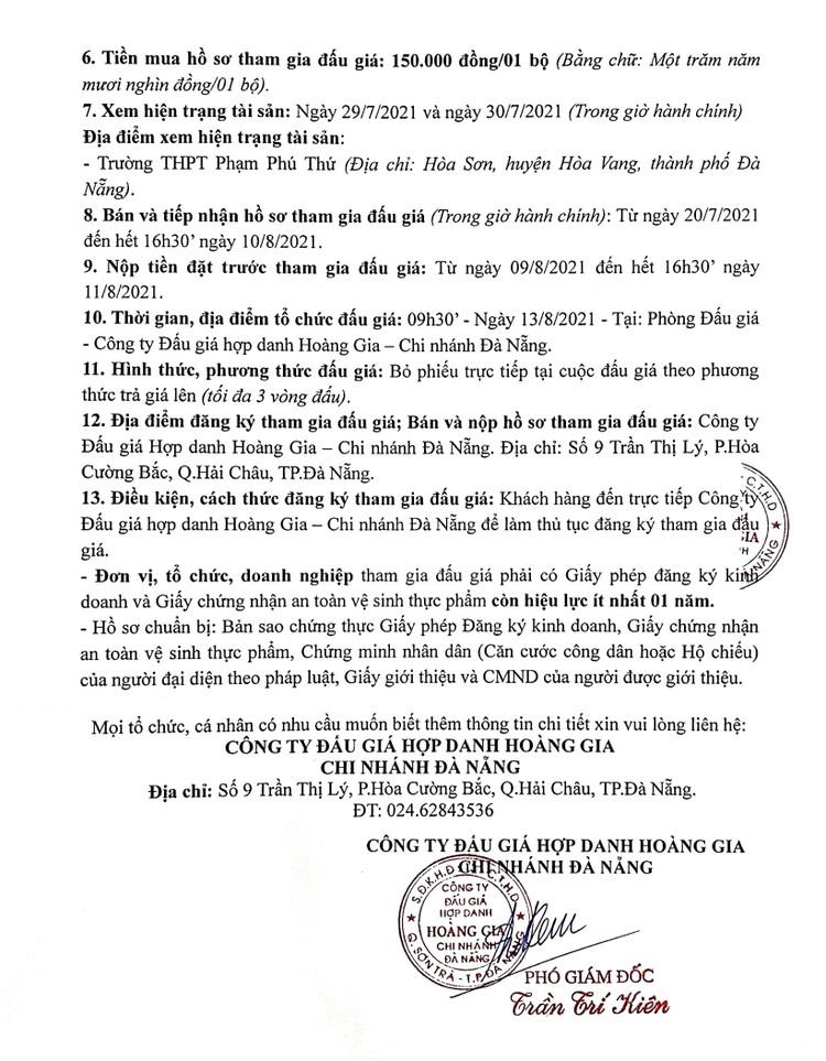 Ngày 13/8/2021, đấu giá quyền thuê sử dụng và khai thác mặt bằng Trường THPT Phạm Phú Thứ, thành phố Đà Nẵng ảnh 3