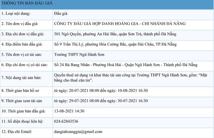 Ngày 13/8/2021, đấu giá quyền thuê sử dụng và khai thác mặt bằng tại Trường THPT Ngũ Hành Sơn, thành phố Đà Nẵng ảnh 1