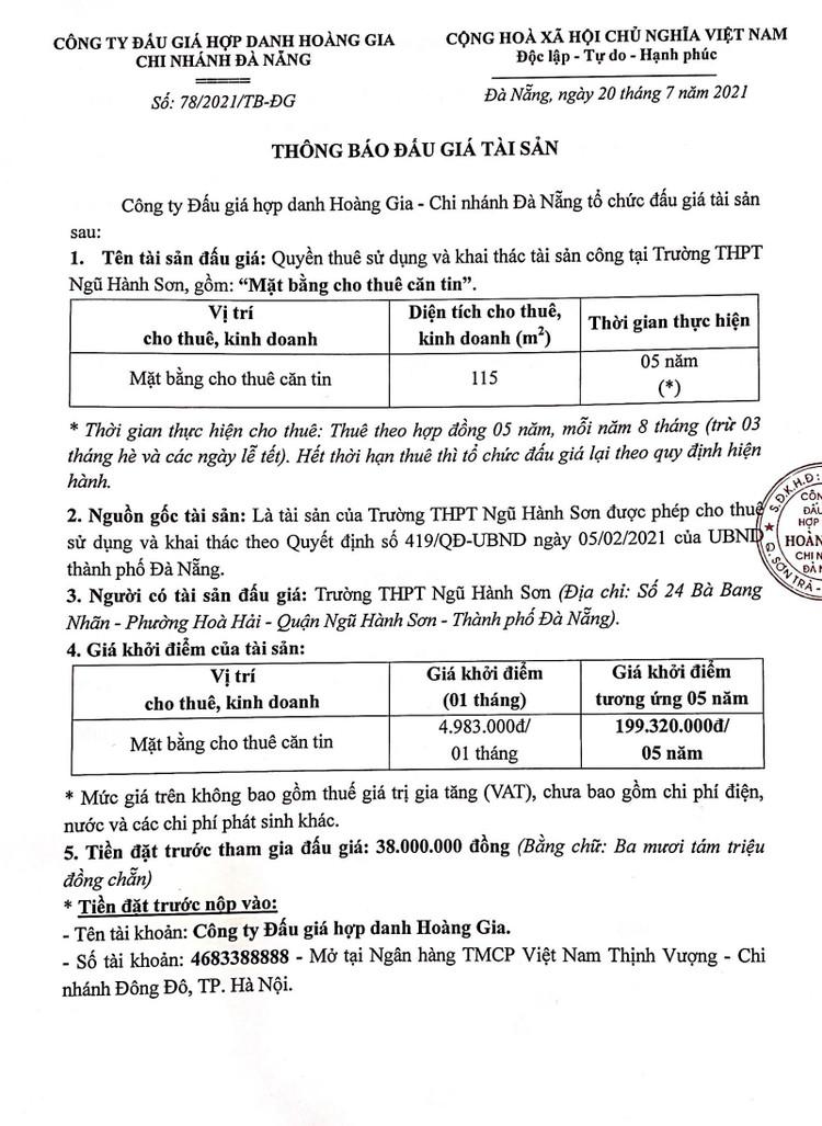 Ngày 13/8/2021, đấu giá quyền thuê sử dụng và khai thác mặt bằng tại Trường THPT Ngũ Hành Sơn, thành phố Đà Nẵng ảnh 2