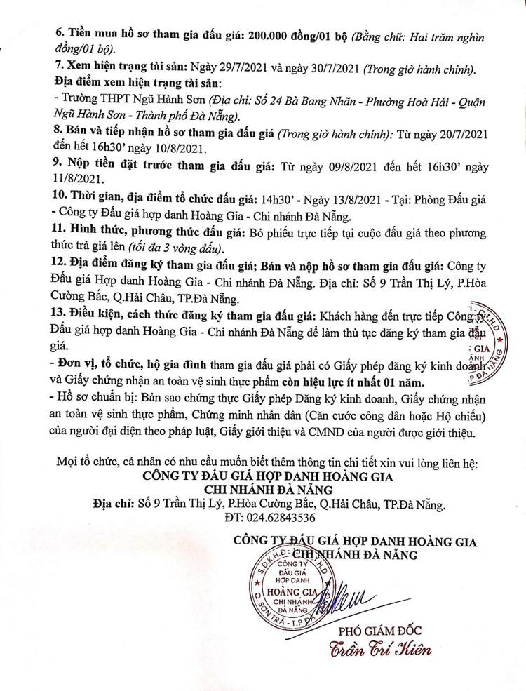 Ngày 13/8/2021, đấu giá quyền thuê sử dụng và khai thác mặt bằng tại Trường THPT Ngũ Hành Sơn, thành phố Đà Nẵng ảnh 3